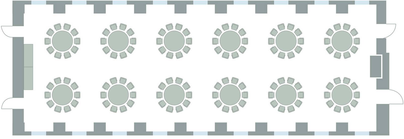 Bestuhlung mit runden Tischen