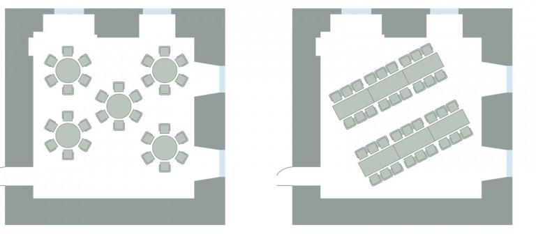 Bestuhlungsvarianten Turmzimmer